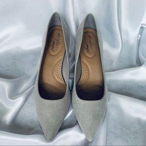 dexflex comfort | Gray Kitten Heel Suede Shoes